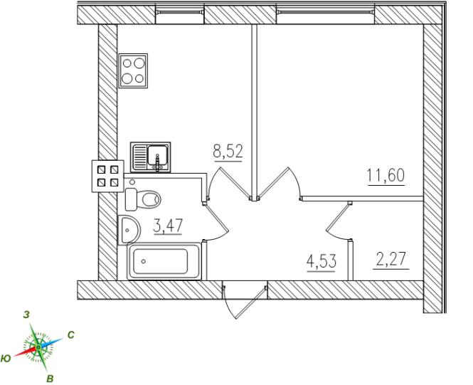 1-комнатная