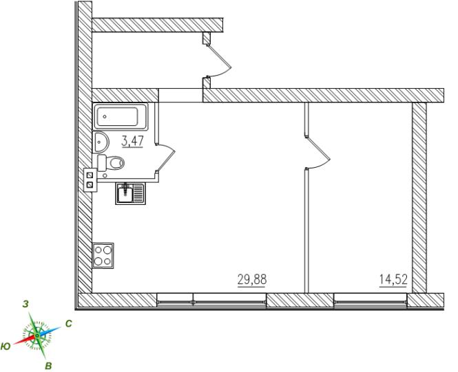 1-комнатная евро