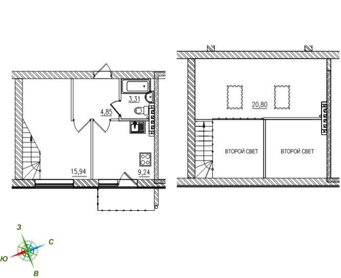 1-комнатная двухуровневая