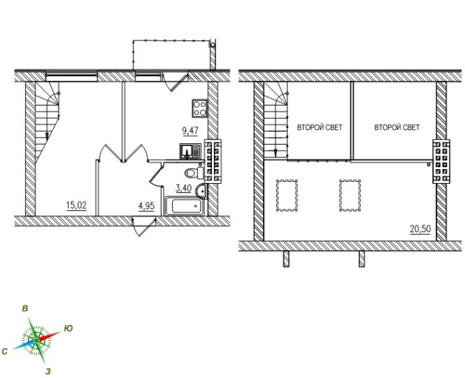 1-комнатная 2-уровневая