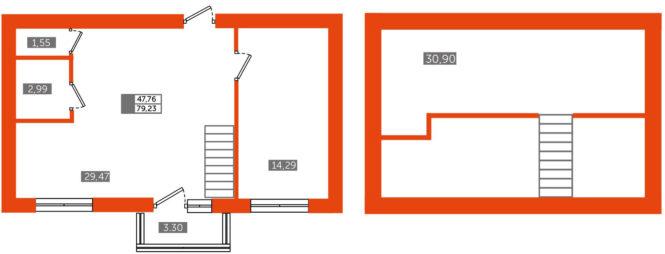 1-комнатная евро 2-уровневая